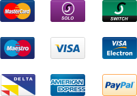 Accepted payment methods. Visa, Mastercard, Solo, Switch, Maestro, Visa Electron Delta, American Express, Paypal