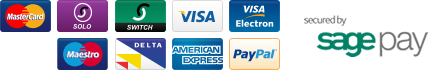 Accepted payment methods. Visa, Mastercard, Solo, Switch, Maestro, Visa Electron Delta, American Express, Paypal. Secured by Sage Pay